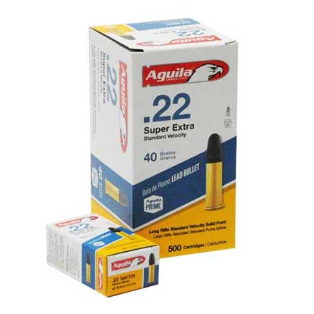 Aguila Super Extra 22 LR Standard Velocity Lead Solid Point 40 Grain 500 Rounds 1130 FPS