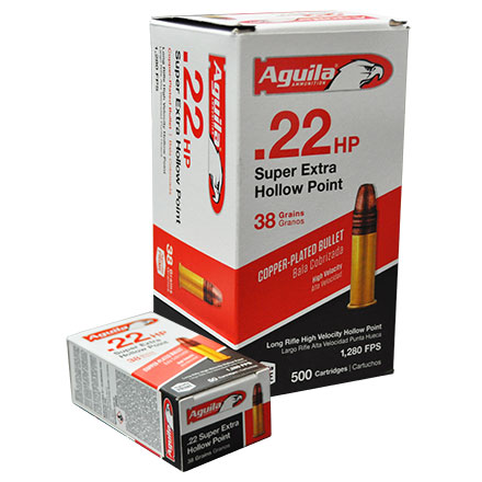 Aguila Super Extra 22 LR Hollow Point High Velocity Copper-Plated 38 Grain  500 Round Brick 1280FPS