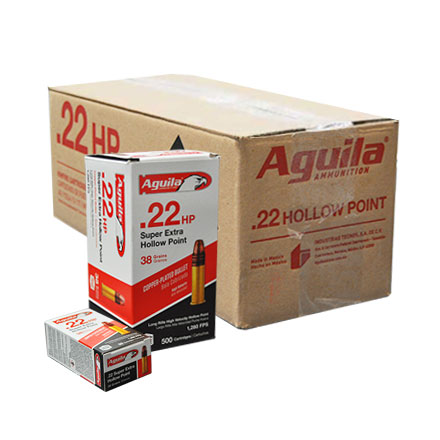 Aguila Super Extra 22 LR Hollow Point High Velocity Copper-Plated 38 Grain 5,000 Round Case 1280FPS