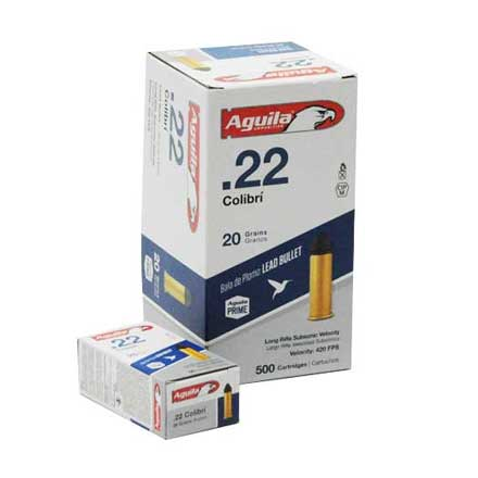 Aguila Colibri 22 LR Subsonic Powderless Lead 20 Grain 500 Rounds 420 FPS