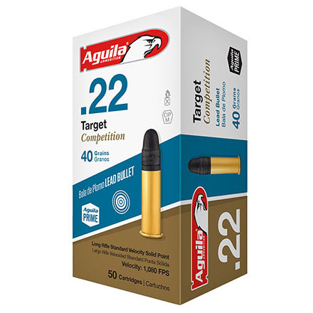 Aguila Target Competition 22 LR Standard Velocity Lead Solid Point 40 Grain 500 Rounds 1080 fps