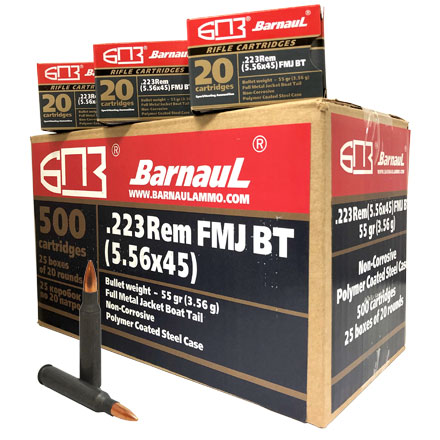 Barnaul 223 Remington 55 Grain Full Metal Jacket Boat Tail Steel Polycoated Case 500 Round Case