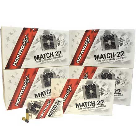 Match 22 LR (Long Rifle) 40 Grain Lead Round Nose 1/2 Case ( 2500 Rounds)