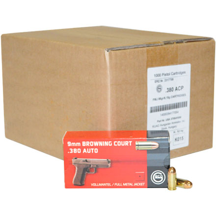GECO 380 Auto Full Metal Jacket 95 Grain 1,000 Round Case