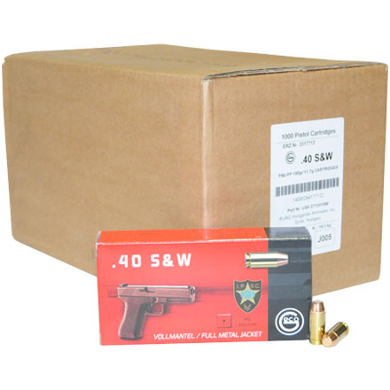 GECO 40 S&W 180 Grain Full Metal Jacket Flat Nose 1,000 Round Case