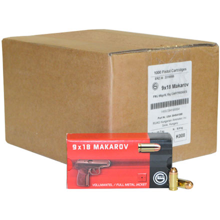 GECO 9x18mm Makarov 95 Grain Full Metal Jacket 1,000 Round Case