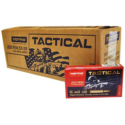 Norma Tactical 223 Rem 55 Grain FMJ 500 Round Case (25 Boxes of 20)