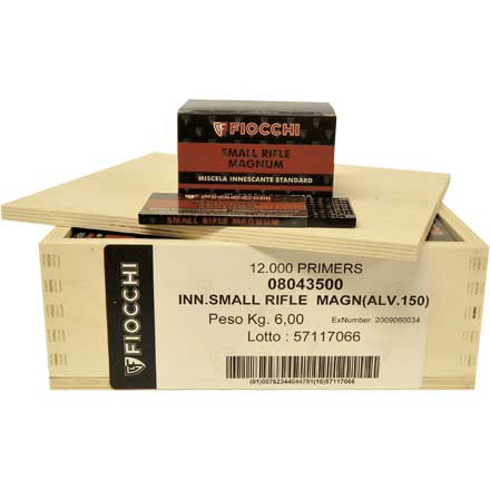 Fiocchi Small Rifle Magnum Primers 12,000 Count Case (8 Boxes of 1500)