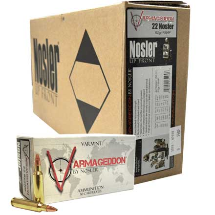 22 Nosler 62 Grain Flat Base Hollow Point Varmageddon 300 Round Case (6 Boxes of 50 Rounds)