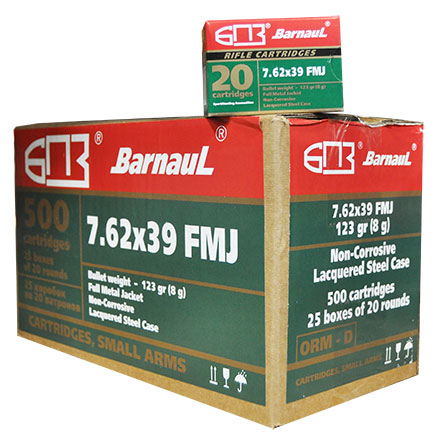 Barnaul 7.62x39 123 Grain Full Metal Jacket  Steel Lacquered Case 500 Round Case