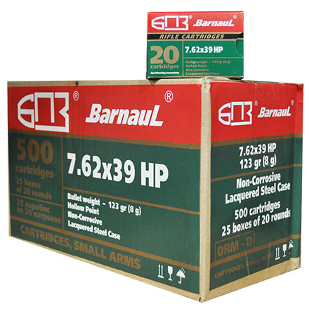 Barnaul 7.62x39 123 Grain Hollow Point Steel Lacquered Case 500 Round Case