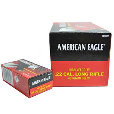 American Eagle 22 LR (Long Rifle) 40 Grain Hi-Velocity Solid 500 Round Brick