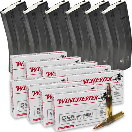 5.56 Ammo Mag Pack (180 Rounds 5.56 Winchester Lake City Ammo & 6 Elander Steel 30rd Magazines)