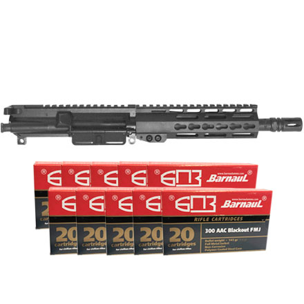 AR-15  8.5 Inch 300 Blackout Pistol Upper with 7 Inch Keymod Handguard and 200 Rounds Barnaul Ammo