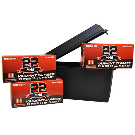 22 Win Mag Range Pack 600 Rounds of 30 Grain V-Max with FREE Ammo Box