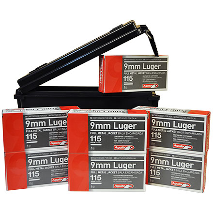 9mm Range Pack 350 Rounds of 115 Grain Full Metal Jacket  with Ammo Box