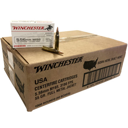 Winchester 5.56mm 55 Grain M193 Lake City Full Metal Jacket 1,000 Rounds (50 Boxes of 20 Rounds ea)