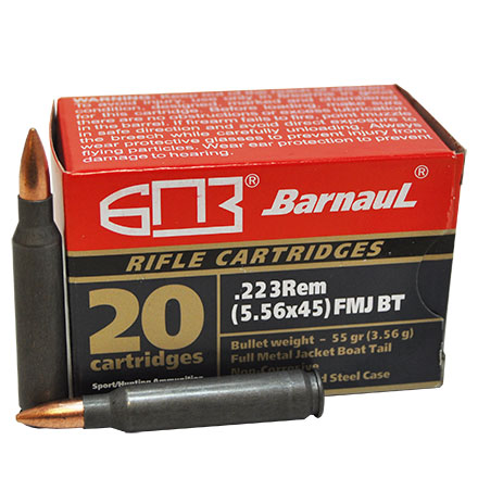 Barnaul 223 Remington 55 Grain Full Metal Jacket Boat Tail Steel Polycoated Case 20 Rounds