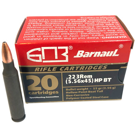 Barnaul 223 Remington 55 Grain Hollow Point Boat Tail Steel Polycoated Case 20 Rounds