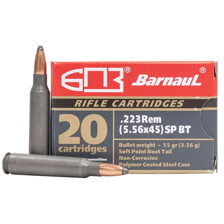 Barnaul 223 Remington 55 Grain Soft Point Boat Tail Steel Polycoated Case 20 Rounds