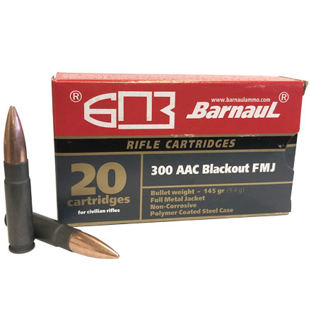 Barnaul 300 AAC Blackout 145 Grain FMJ Poly-coated Steel Case 20 Rounds