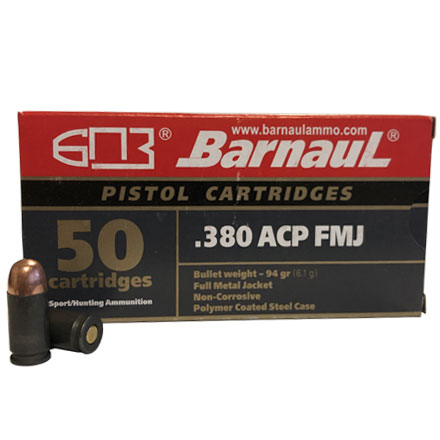 Barnaul 380 Auto 94 Grain FMJ Steel Polycoated Case 50 Rounds