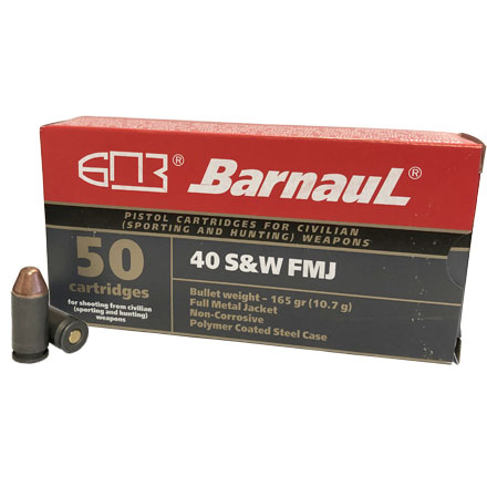 Barnaul 40 S&W 165 Grain FMJ Steel Polycoated Case 50 Rounds