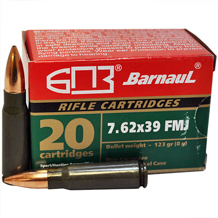 Barnaul 7.62x39 123 Grain Hollow Point Steel Lacquered Case 20 Rounds