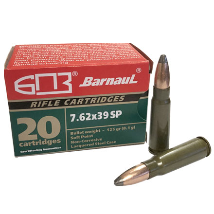 Barnaul 7.62x39 125 Grain Soft Point  Steel Lacquered Case 20 Rounds