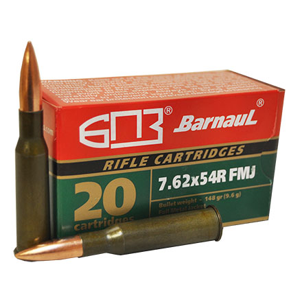 Barnaul 7.62x54R 148 Grain Full Metal Jacket  Steel Lacquered Case 20 Rounds