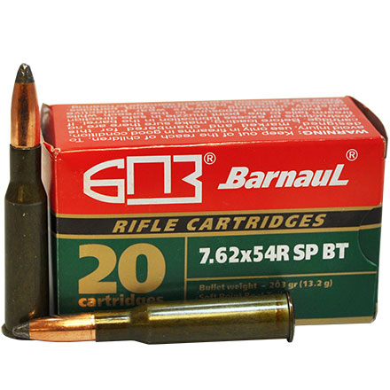 Barnaul 7.62x54R 203 Grain Soft Point Boat Tail Steel Lacquered Case 20 Rounds