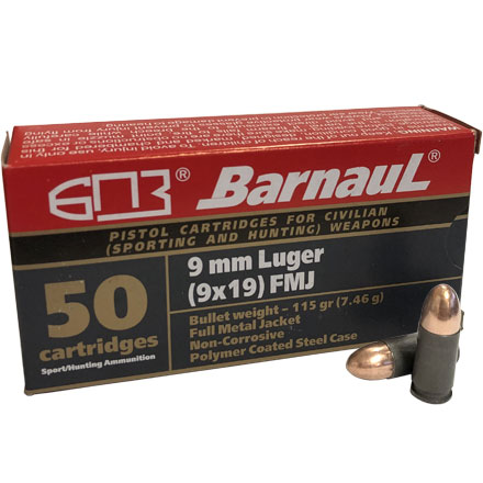 Barnaul 9mm Luger 115 Grain FMJ Steel Polycoated Case 50 Rounds