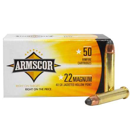 Armscor Precision 22 Mag  40 Grain JHP Box of 50 Count