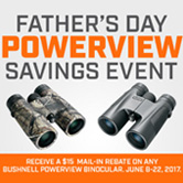 $15 Mail-in Rebate with any Bushnell PowerView Binocular